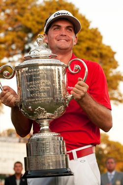 Keegan Bradley of the US holds the Wanamaker trophy after his play-off victory over Jason Dufner of the US in the final round of the 2011 PGA Championship Tournament at Atlanta Athletic Club August 14, 2011 in Johns Creek, Georgia. AFP PHOTO/DON EMMERT (Photo credit should read DON EMMERT/AFP/Getty Images)