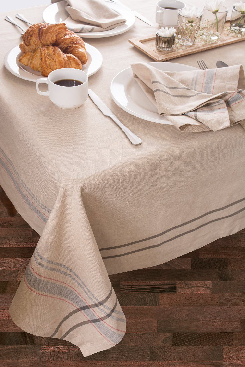 DII Everyday French Stripe Kitchen Tablecloth