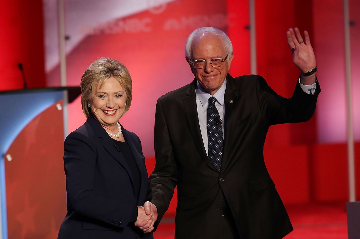 Democratic Presidential Candidates Hillary Clinton And Bernie Sanders Debate In Durham, New Hampshire