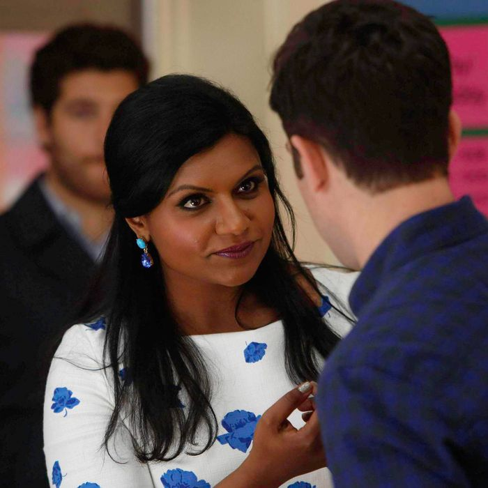 """THE MINDY PROJECT: Mindy (Mindy Kaling, C) and Peter (Adam Pally, L) pay Lee (guest star Max Greenfield, R) a surprise visit in the """"Think Like a Peter"""" time period premiere episode of THE MINDY PROJECT airing Tuesday, April 15 (9:30-10:00 PM ET/PT) on FOX."""