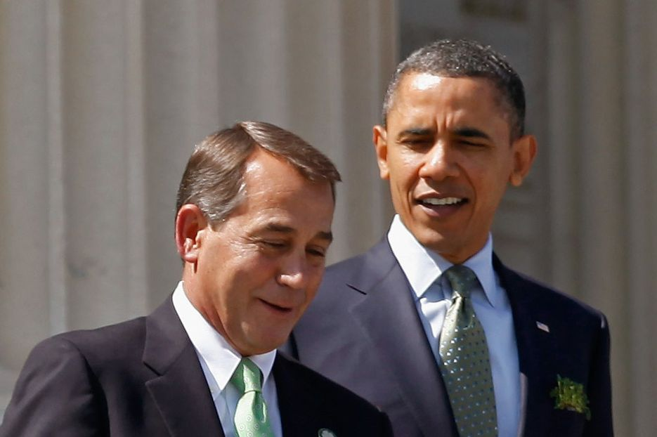 WASHINGTON, DC - MARCH 17: Speaker of the House John Boehner (R-OH) (L) and President Barack Obama leave the U.S. Capitol after a St. Patrick's Day luncheon  March 17, 2011 in Washington, DC. Obama will visit Ireland in May as part of a European trip.  (Photo by Chip Somodevilla/Getty Images)