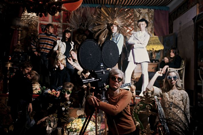 Andy Warhol in New York, United States in 1966 - Andy Warhol during the shooting of 'Chelsea girls' at the Factory.Andy Warhol in New York, United States in 1966 during the shooting of 'Chelsea girls' at the Factory.
