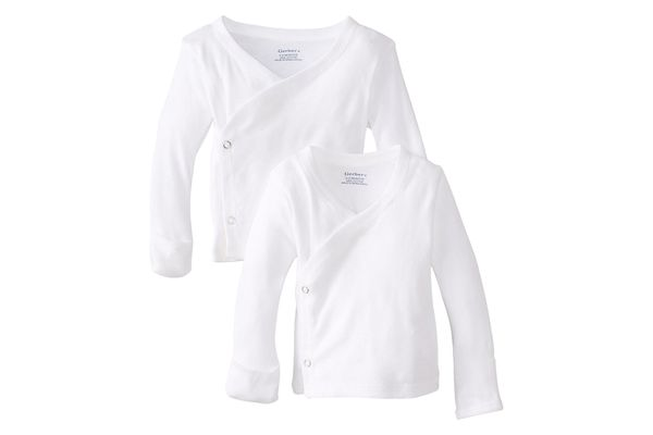 Gerber Unisex Long-Sleeve Shirts With Side Snap and Mitten Cuffs, 2-Pack