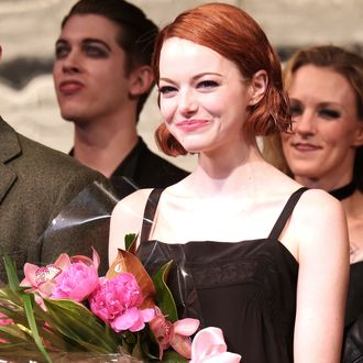 NEW YORK, NY - NOVEMBER 11: Emma Stone during the curtain call for her debut performance in Broadway's 'Cabaret' at Roundabout Theatre Company's Studio 54 on November 11, 2014 in New York City. (Photo by Walter McBride/WireImage)