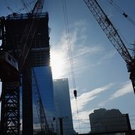 NEW YORK, NY - NOVEMBER 10:  Construction continues on the World Trade Center site on November 10, 2011 in New York City. Besides the National September 11 Memorial & Museum at the World Trade Center, the site will feature 550,000 square feet of retail space when completed.  (Photo by Spencer Platt/Getty Images)