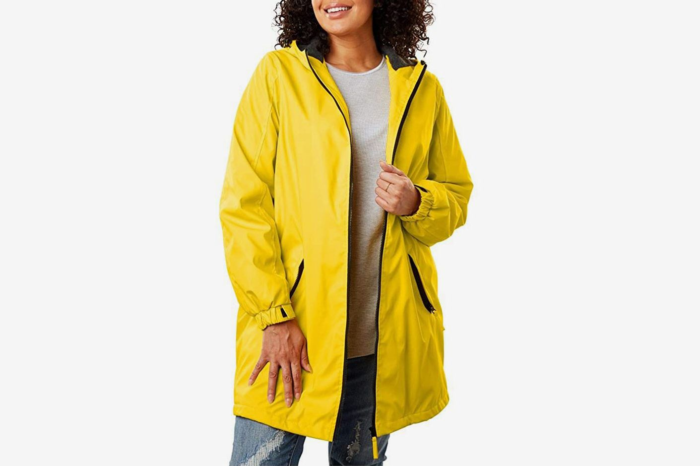e2c8e27074e54 Woman Within Plus-Size Hooded Slicker Raincoat