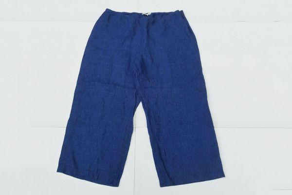 Eileen Fisher Linen Petite Crop Elastic Blue Pants