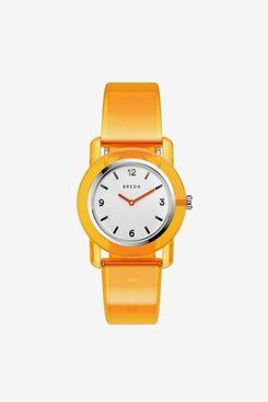 Breda Play Orange Transparent Plastic Watch, 35 mm.