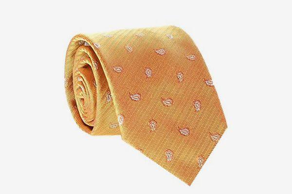 Herringbone Pattern Woven Silk Necktie Gold