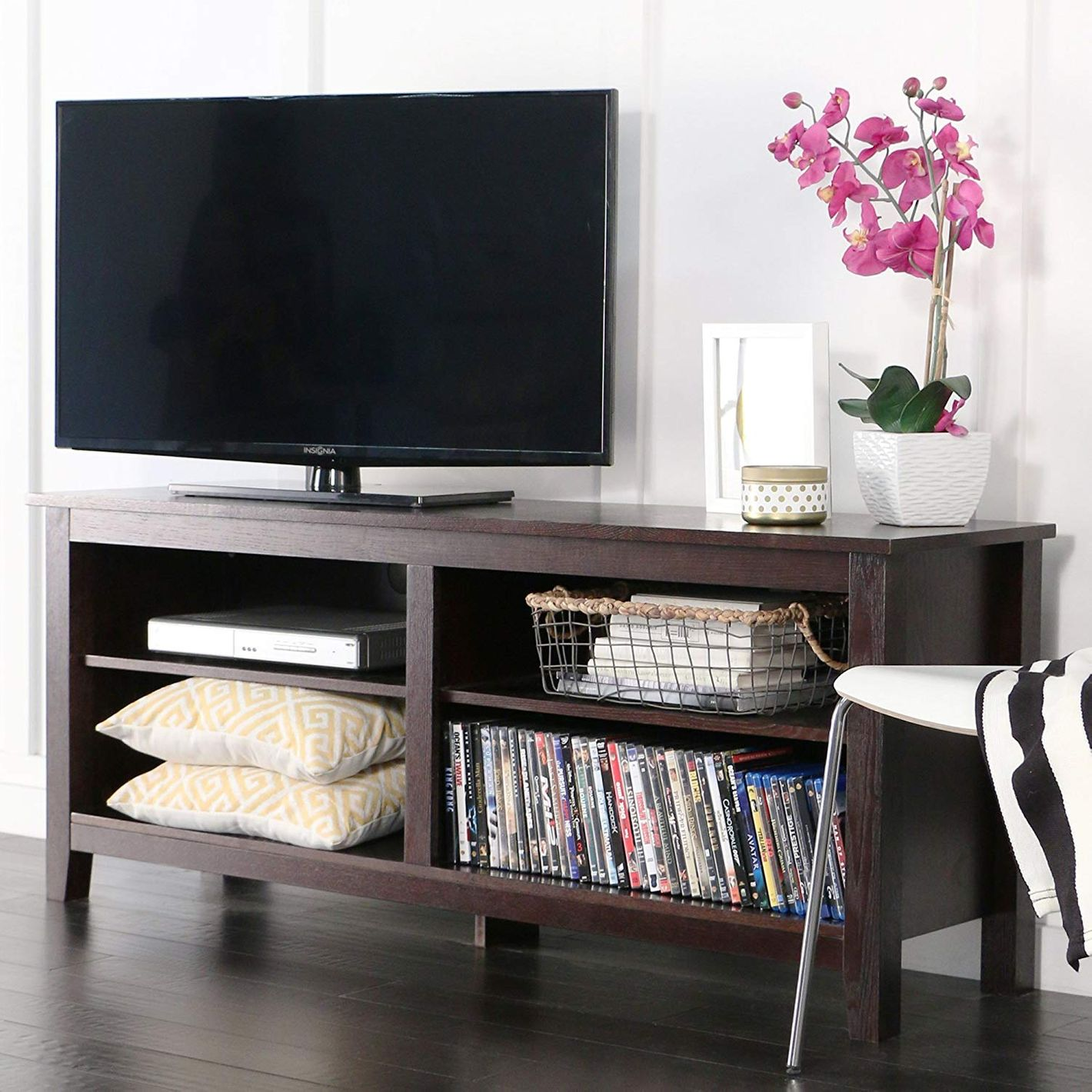WE Furniture Classic Wood TV Stand 58-Inch Espresso