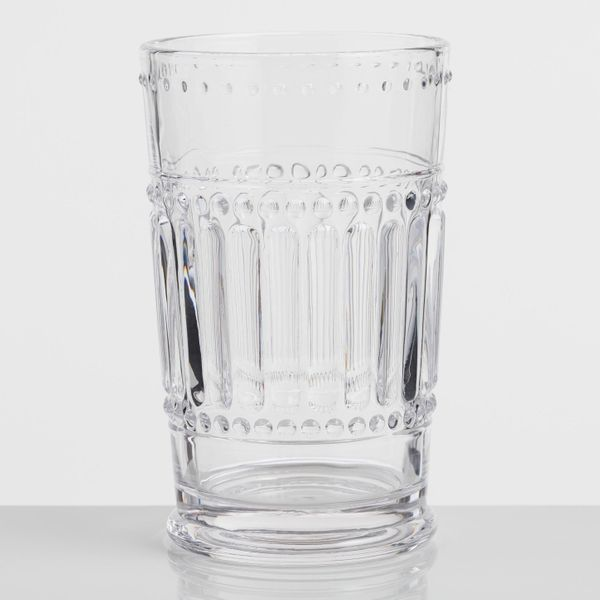 Clear Pressed Glass Highball Glasses (Set of 4)