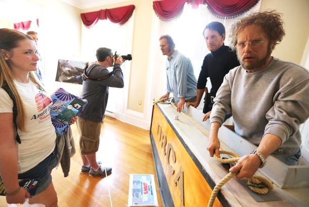 EDGARTOWN, MA - AUGUST 11:  People view a lifesize display of Jaws actors at JawsFest: The Tribute, a festival celebrating the film Jaws, on the island of Martha's Vineyard on August 11, 2012 in Edgartown, Massachusetts. The film was primarily shot in Martha's Vineyard and tells the story of a massive great white shark who attacks humans along the coast of the fictional Amity Island. A man was confirmed to have been bitten by a great white shark less than two weeks ago along the shoreline of nearby Cape Cod. An increase in the seal population on Cape Cod has led to increa