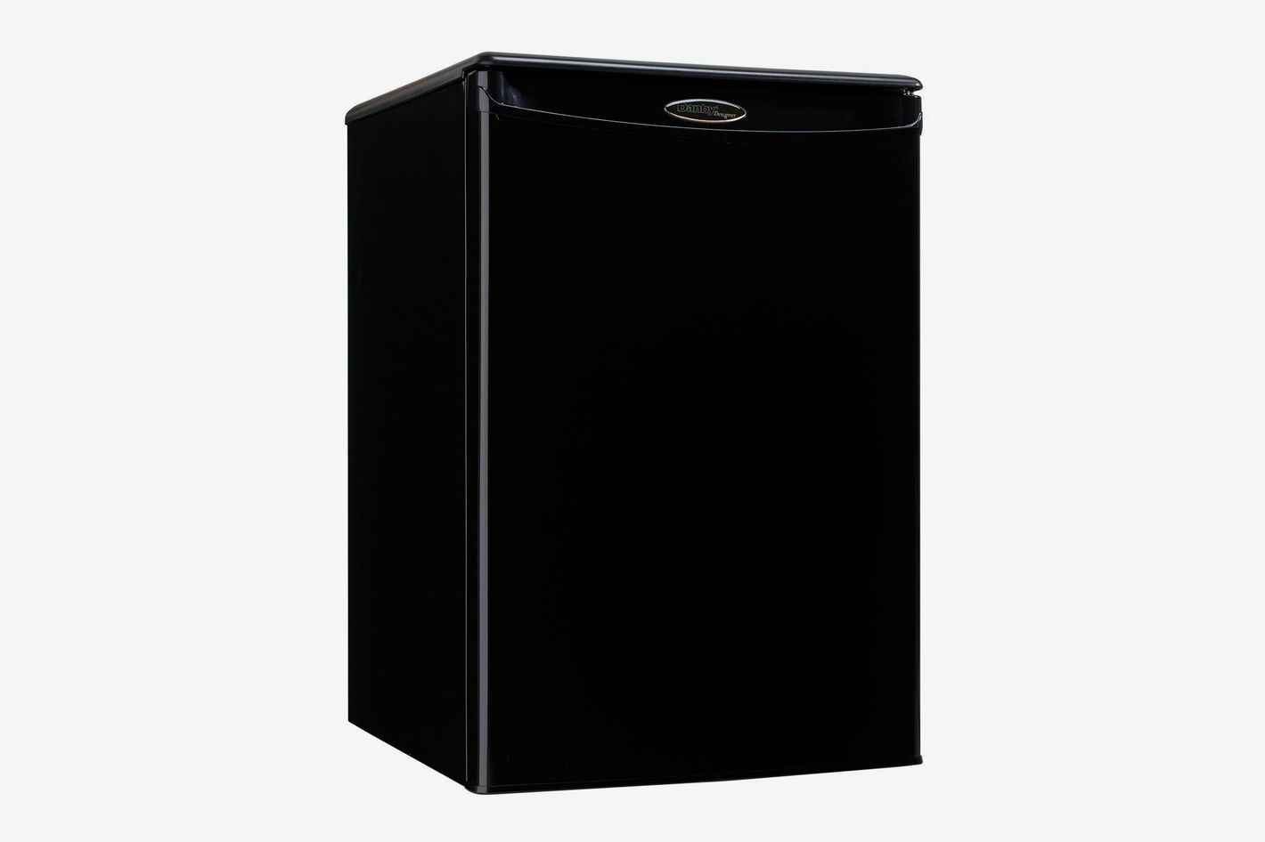 An all-black mini fridge with one door
