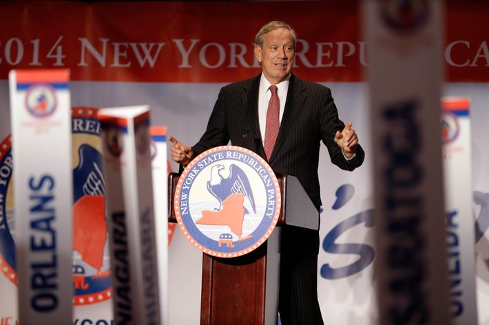 Former New York Governor George Pataki speaks during the New York State Republican Convention in Rye Brook, N.Y., Wednesday, May 14, 2014.   (AP Photo/Seth Wenig)