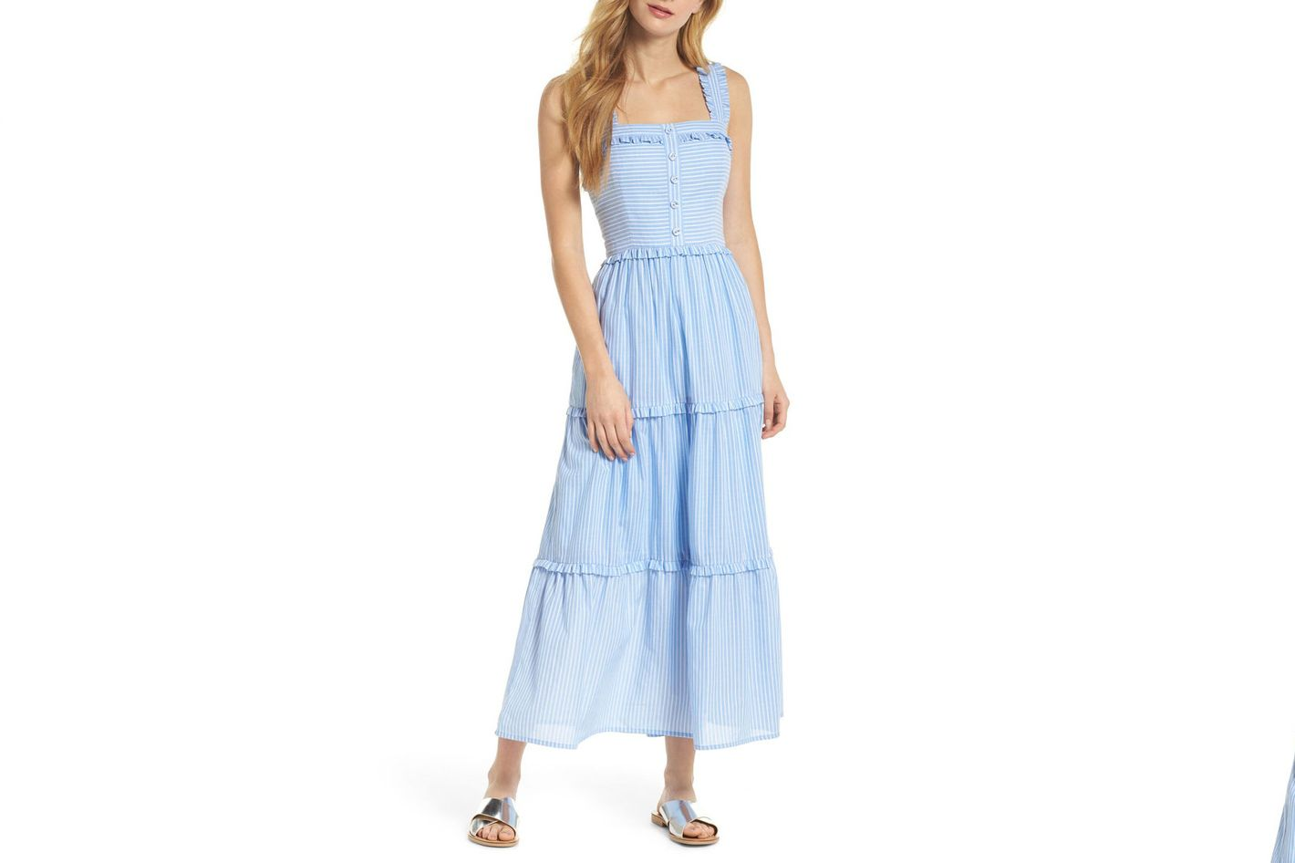 Gal Meets Glam Collection Courtney Rio Stripe Lawn Maxi Dress