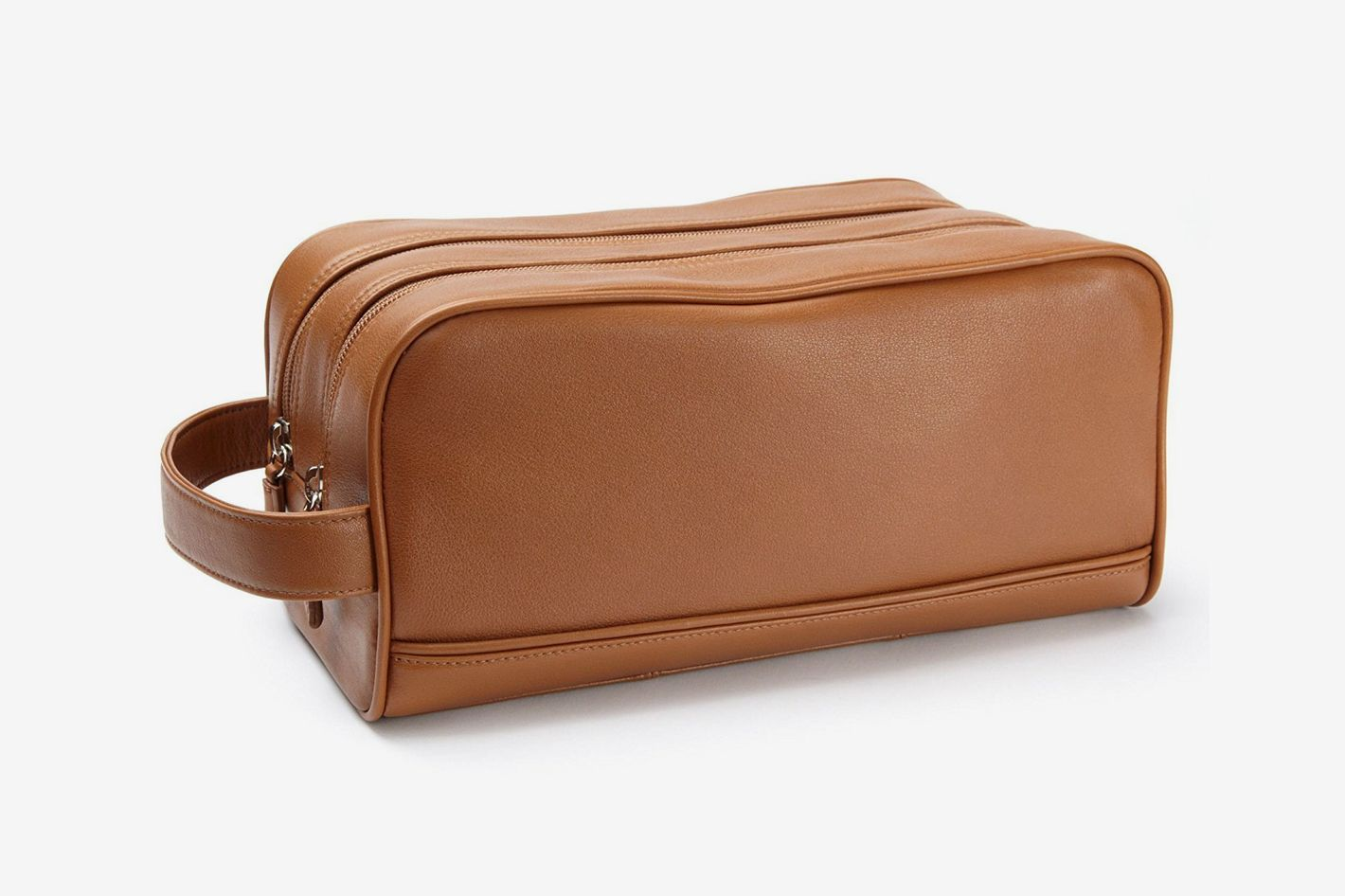 Leatherology Double Zip Toiletry Bag — Cognac