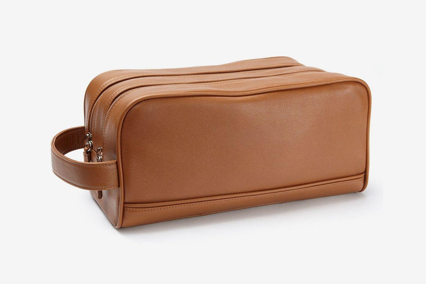 Leatherology Double Zip Toiletry Bag — Cognac