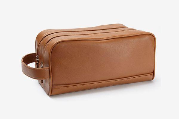 Leatherology Double-Zip Toiletry Bag — Cognac
