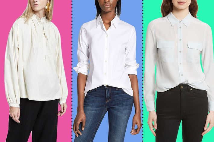 1a490168 We talked to a bunch of stylish women about the best white button-down  shirts they've ever found — these are their picks, from the oversized to  the slightly ...