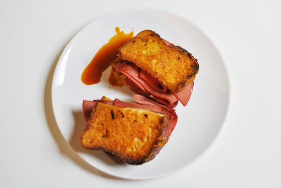 The French-Canadian dip: Pumpkin spiced French toast with fried baloney.
