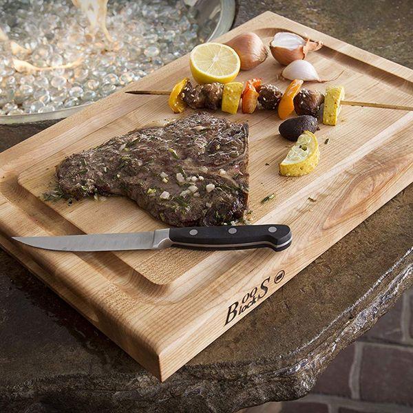 John Boos Block BBQBD Reversible Maple Wood Edge Grain BBQ Cutting Board With Juice Groove