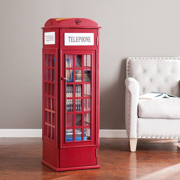 Red Phone Booth Storage Cabinet - 5 Fixed Shelves