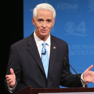 DAVIE, FL - OCTOBER 15: Former Florida Governor and Democratic candidate for Governor Charlie Crist speaks during a televised debate with Republican Florida Governor Rick Scott at Broward College on October 15, 2014 in Davie, Florida. Governor Scott is facing off against Crist in the November 4, 2014 governor's race. (Photo by Joe Raedle/Getty Images)