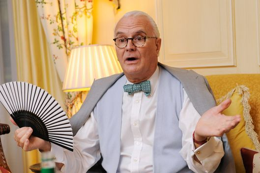 Manolo Blahnik, one of the judges for the Dorchester Collection Fashion Prize Grand Final, discusses who will be the winning designer at the Dorchester Hotel on October 19, 2010 in London, England.