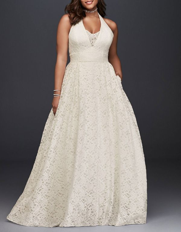 Galina Plunging Lace Halter Plus Size Wedding Dress