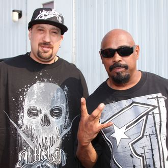 (L-R) B-Real and Sen Dog of Cypress Hill attend the 8th Annual Rock The Bells festival on Governor's Island on September 3, 2011 in New York City.
