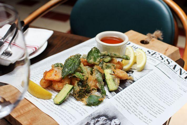 Fritto Misto: shrimp and seasonal vegetables.