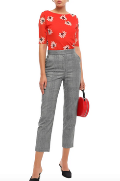 Ganni Tilden Floral-Print Stretch-Mesh Top