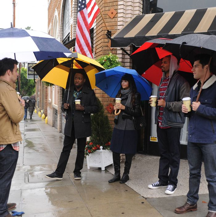 NEW GIRL: Nick (Jake Johnson, L) and the gang (Lamorne Morris, Hannah Simone, Damon Wayans, Jr. and Max Greenfield) travel to Jess's childhood home in Portland, Oregon for her father's wedding in the