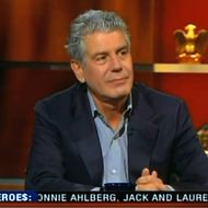 Bourdain, looking disdainful.