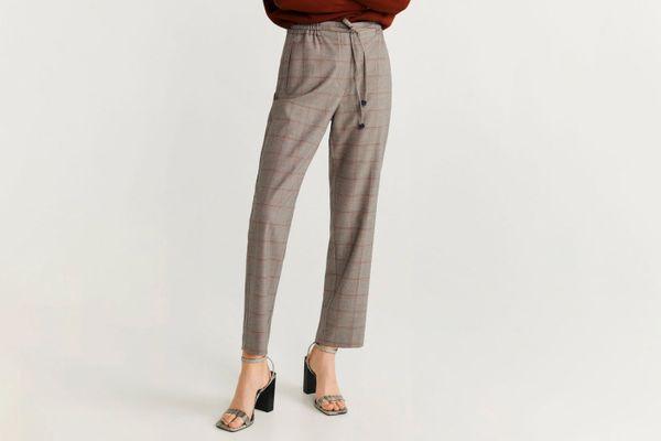 Mango Straight Drawstring Waist Straight Pants