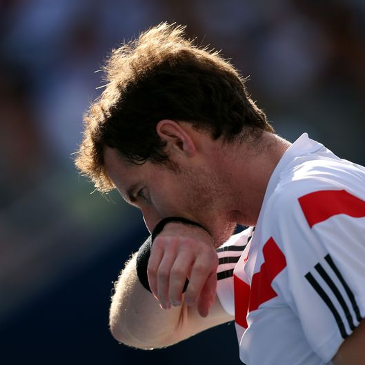 Andy Murray of Great Britain reacts during his men's singles quarterfinal match against Stanislas Wawrinka of Switzerland on Day Eleven of the 2013 US Open at USTA Billie Jean King National Tennis Center on September 5, 2013 in the Flushing neighborhood of the Queens borough of New York City.
