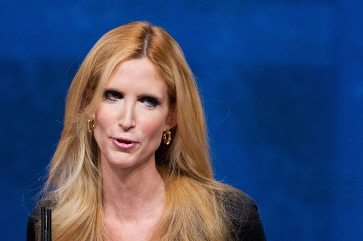 Author Ann Coulter speaks during an address to the 39th Conservative Political Action Committee February 10, 2012 at a hotel in Washington, DC. AFP PHOTO/Mandel NGAN (Photo credit should read MANDEL NGAN/AFP/Getty Images)