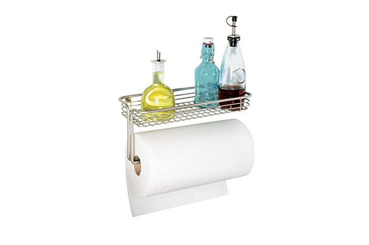 mDesign Wall Mount Paper Towel Holder with Shelf