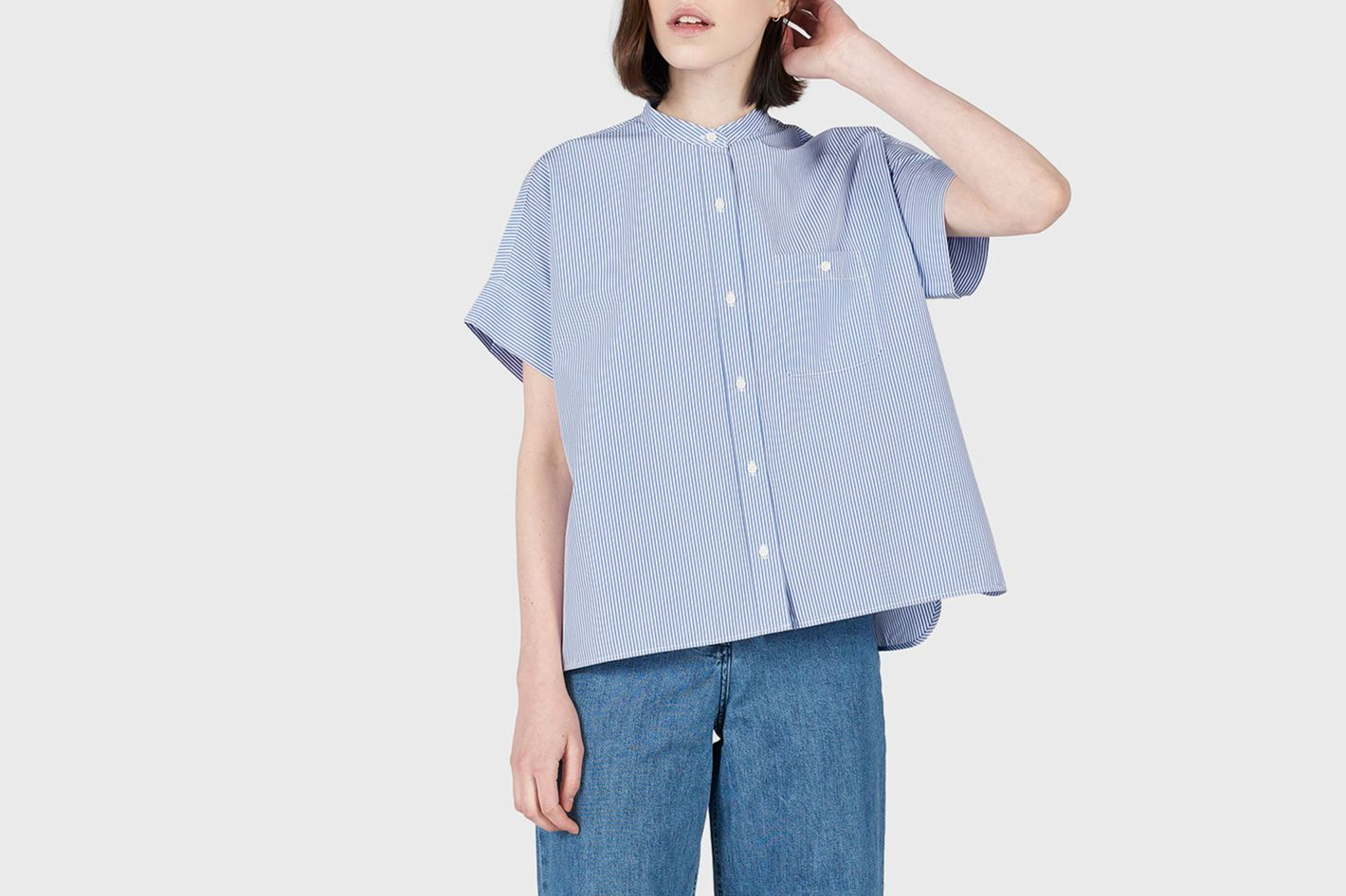 Everlane Cotton Poplin Collarless Short-Sleeve Square Shirt