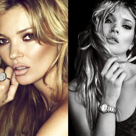 Kate Moss's Fred ad (left) and David Yurman ad (right).