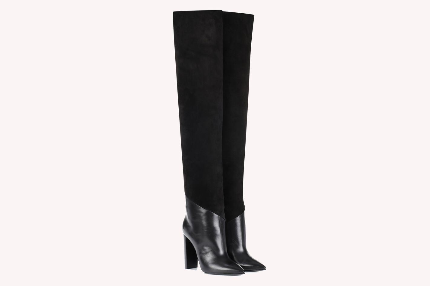 753fb300dfdd1 Saint Laurent Tanger 105 Leather and Suede Over-the-Knee Boots
