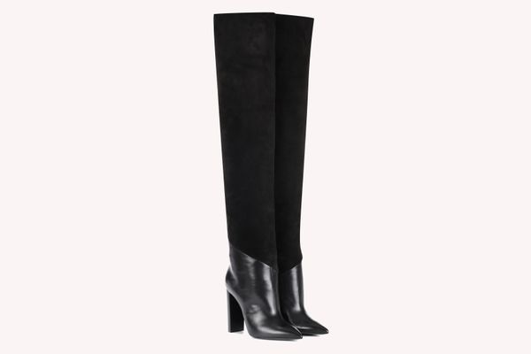 Saint Laurent Tanger 105 Leather and Suede Over-the-Knee Boots