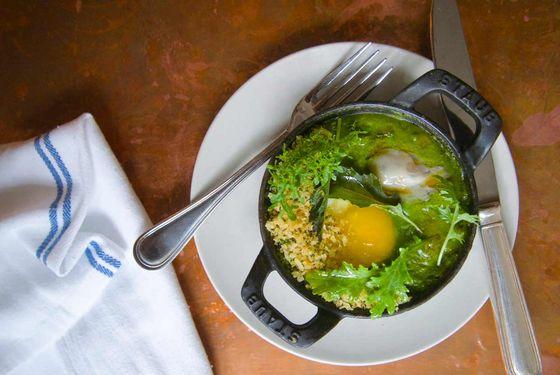 Green Eggs: baked eggs in gumbo z'herbes.