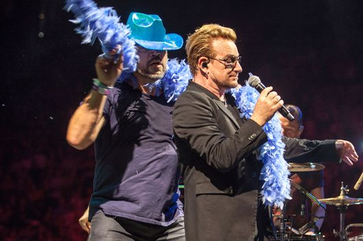 Javier Bardem And Penelope Cruz Join U2 On Stage