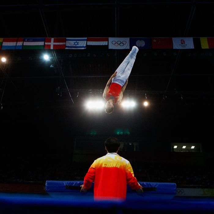 Lu Chunlong of China competes in the men?s trampoline final in the gymnastics event at the National Indoor Stadium on Day 11 of the Beijing 2008 Olympic Games on August 19, 2008 in Beijing, China.