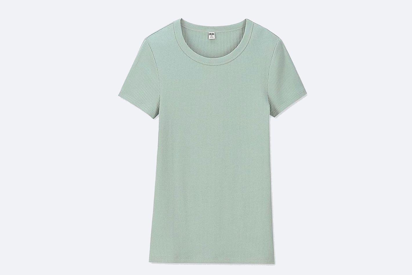 Women Ribbed Crew Neck Short-Sleeve T-Shirt