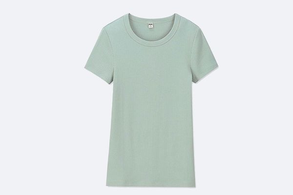 Women Ribbed Crew Neck Short-Sleeve T-Shirt