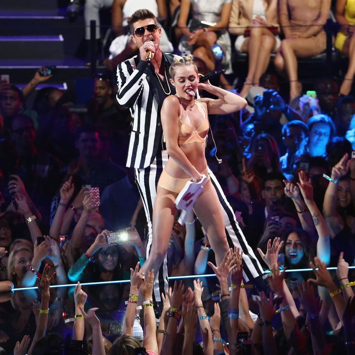 Miley Cyrus and the foam finger.
