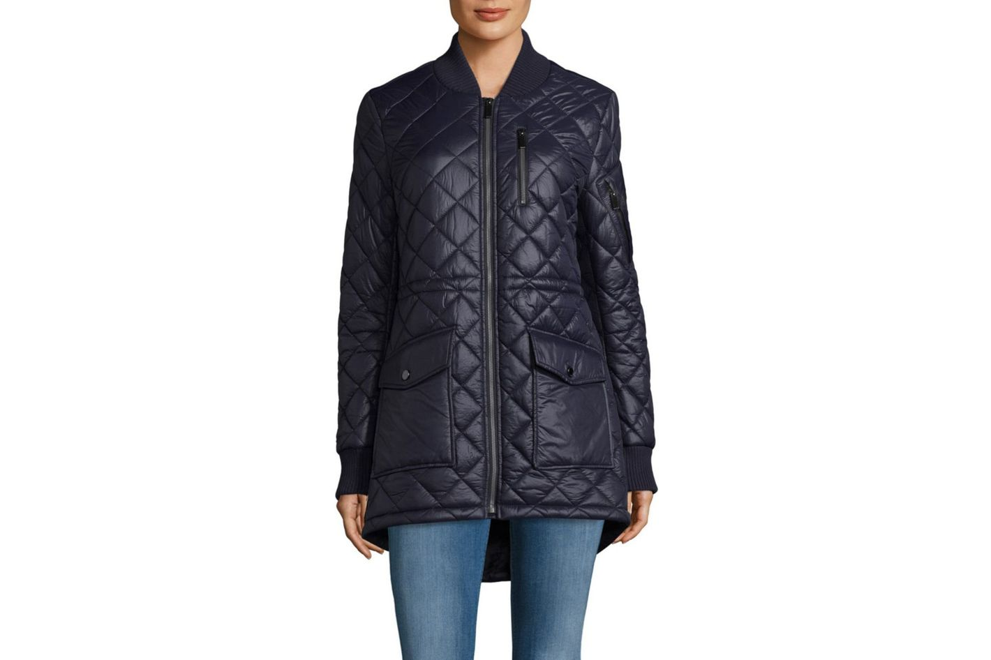French Connection Zip Stand Collar Quilted Coat