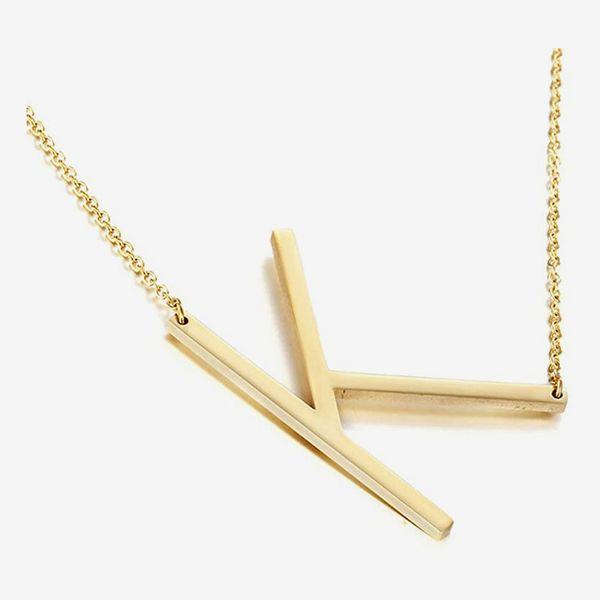 MOMOL Sideways Initial Pendant Necklace